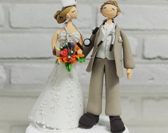 Doctor and Nurse custom wedding cake topper