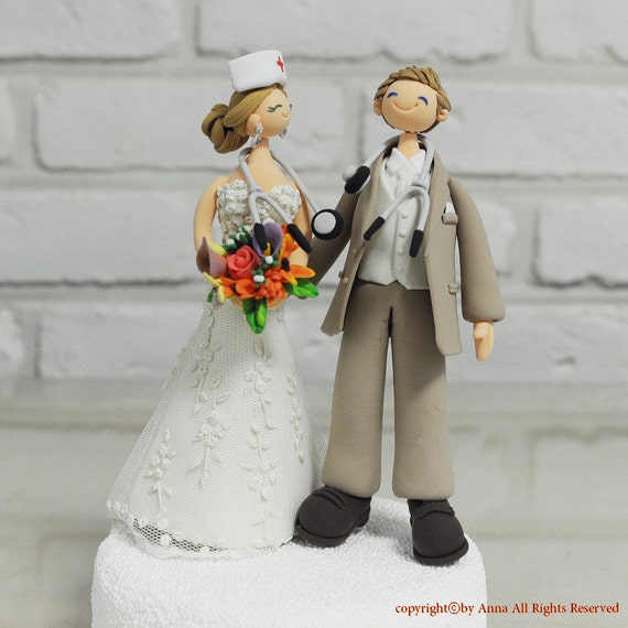 nurse wedding cake toppers items similar to doctor and custom wedding cake 17951