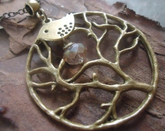 Bronze TREE & BEEPS and CRYSTAL long chain - necklace