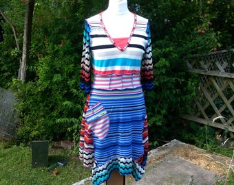 REDUCED Stripes patchwork sweater dress upcycled by Niknok SALE