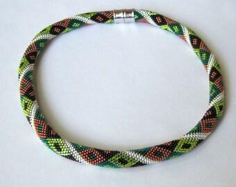 Bead Crochet Necklace Pattern:  Autumn Embers Bead Crochet Necklace Pattern