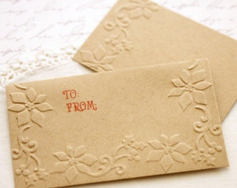 Christmas Gift Card Holders set of 6 Poinsettia Gift Envelopes With Enclosure Card  Kraft Money Holder Rustic Christmas