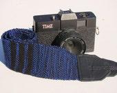 Blue and Black Striped Long Cotton DSLR SLR Woven Camera Strap #