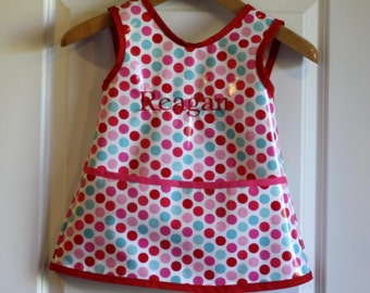 Criss Cross Back Long Girls Art Smock Art Apron in Pink and Red Dots