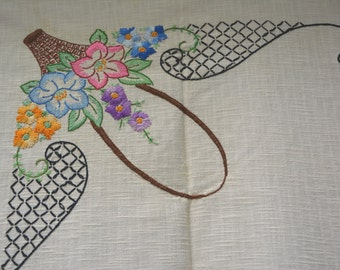 Stamped Linen Tablecloth Partially Embroidered Ready to Finish - Vintage - 48 X 53 - TC4N