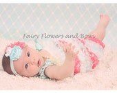 CLEARANCE....Aqua, Strawberry and White  Lace Pettiromper with Matching Headband  (Infant, Toddler)  Photo Prop