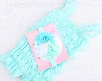 CLEARANCE...Aqua STARFISH Under the Sea PettiRomper Set    Starfish Pearls (Infant, Toddler)   Headband, Clip, Romper