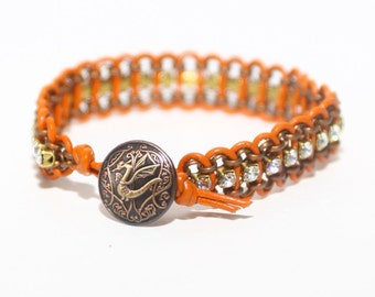 Leather and Chain Bracelet Crystal and Orange