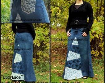 DELAROSA Long Jean Skirt Denim and Lace Patchwork Style Lucy Lace