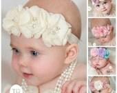 PICK COLOR Ivory Baby Headband, Baby Headbands,Baby girl Headband,Newborn Headband, Baptism Headband, Baby Headband,Hair Bows.