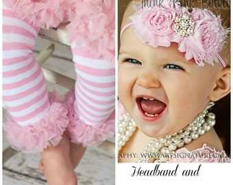Pink Baby Headband and Leg Warmers SET, Baby headbands,baby leg warmers, Pink Baby Headband, Pink baby toddler child leg warmers.
