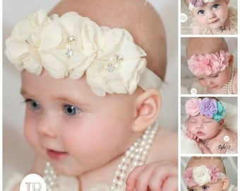 PICK COLOR Ivory Baby Headband, Baby Headbands,Baby girl Headband,Newborn Headband, Baptism Headband, Baby Headband,Hair Bows.