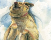 """Happy and smiling Yellow Lab dog rolling around in white snow- Art Reproduction (Print) - """"Goldie in the Snow"""""""