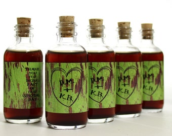 Wedding Favors // 10 Personalized Green Barn Siding Glass Corked Bottles