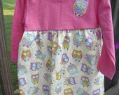 Infant Girl Long Sleeve Tee Top Dress Owls SZ 12 months, Ready to Ship