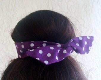 Bun Wrap, Top Knot Wire Wrap Deep Purple with White Polka Dots