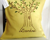 Grandma Pillow Cover. Personalized Family Tree Art. Grandchildren Names. Christmas Gift for Grandma or Grandpa. Mother-in-law.
