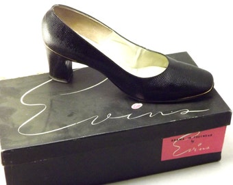 Womens Black Leather Shoes, Chunky Heel Pumps, Gold Tipped Snakeskin Designer David Evins Shoes, Size 6.5, 6 1/2 N Narrow US