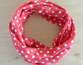 Jersey Knit Infinity Scarf -  Red with White Polka Dots