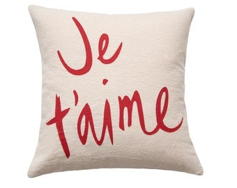 SALE Je T'aime Pillow, Oatmeal and Red