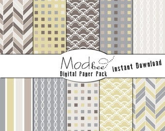"""Digital Paper 10 PACK - Geometric Neutral Beige and Grey, Light Yellow, and Blue (300 dpi) -- 10 designs - 12"""" by 12"""" Instant Download (046)"""