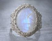 Rainbow Moonstone Ring, Fine Silver Wire Crochet Gemstone Ring, Statemernt Ring