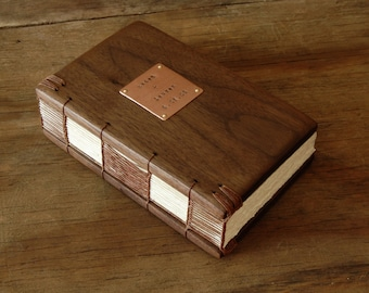 personalized handmade journal - unique wood book  black walnut - gifts for men groomsman gift  - made to order