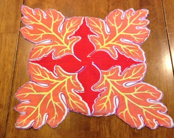 Leaf Shaped Handkerchief Hanky Red and Orange - vintage hanky,fall hanky, leaf handkerchief, vintage hanky,orange & red hanky, leaf hanky
