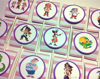 IZZY & NEVERLAND PIRATES Birthday Party Cupcake Toppers