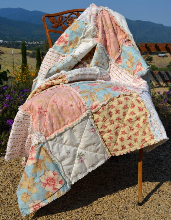 Shabby Chic Rag Quilt, Dogwood and Roses. Listing reserved for Kristin. Balance on Layaway.