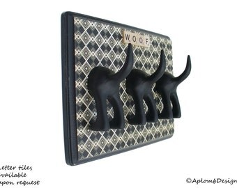 Dog Leash Holder - Triple Tail -  Retro Diamond - Personalize it with Optional Letter Tiles