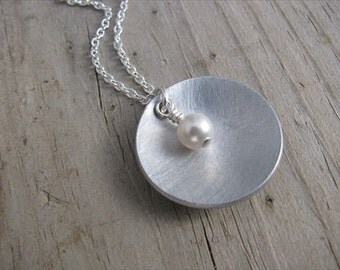 Brushed Silver Domed Circle Necklace- Brushed Metal with an accent bead of your choice