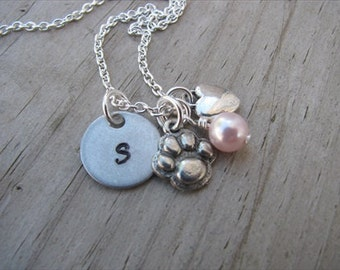 Pawprint Necklace- Pawprint, Heart, Initial, and an accent bead in your choice of colors