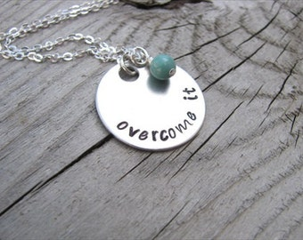 "Inspiration Necklace- ""overcome it"" with an accent bead of your choice"