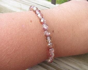 Layering Bracelet- Iridescent Rose and Gold Beaded Bracelet