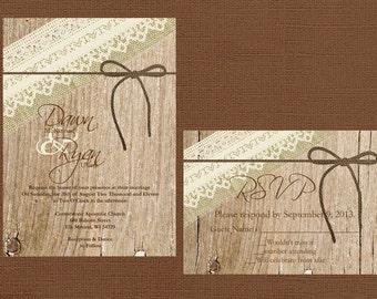 Rustic Wedding Invitation, Lace Wedding Invitation, Vintage Wedding Invitation, Western Wedding Invitation, Wood Wedding Invitation,