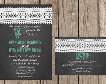 Chalkboard Wedding Invitation, Rustic Wedding Invitation, Lace Wedding Invitation, Vintage Wedding Invitation