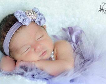 Lavender Newborn Headband - Newborn Lavender Headband - Newborn Headband