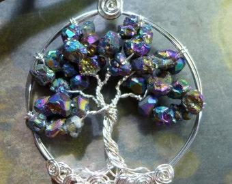 Titanium Tree of Life Pendant- Rainbow Mystic Titanium AB Quartz Crystal Tree of Life Pendant Necklace- Wire Wrapped Birthstone Necklace