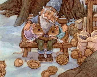 Winterstock Gnome and Love is a Journey 8.5x11 Signed Print set of 2