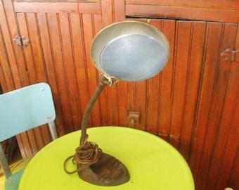 Vintage Industrial Cast Metal Iron Desk Lamp With Glass Lens Filter