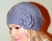 Ear Warmer Crochet Headband Knit Flower Head wrap Braided Earwarmer Gray Grey Christmas Gift