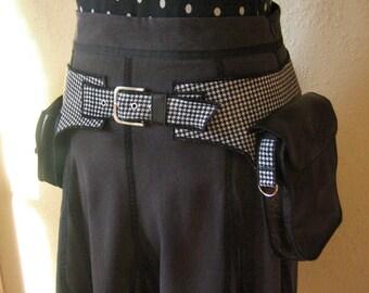 Black and White Houndstooth - Designers Style - Utility belt - Pocket belt - Hip Bag - Money belt - Festival belt - Steampunk - Pockets