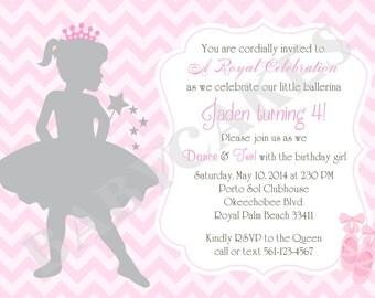 Ballerina birthday invitation ballerina invitation invite princess invitation princess ballerina invitation invite pink chevron printable