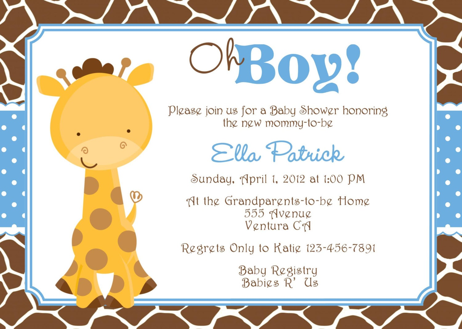 giraffe baby shower invitation baby sprinkle diy print your