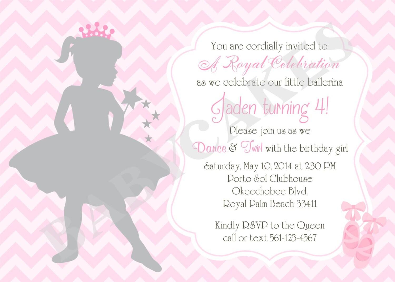 Ballerina Birthday Invitation Ballerina Invitation Invite