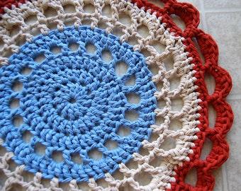Crochet Round Rug - Southwest - Tshirt Yarn - Eco Friendly