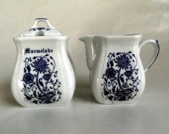 English ceramic Creamer and Marmelade or sugar, flow blue and white