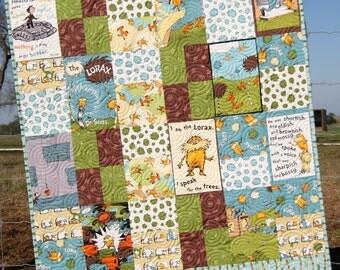 Organic Baby Quilt Lorax Earth Tones Dr Seuss Whimsy Boy or Girl Gender Neutral Blanket Crib Bedding Nursery Brown Green
