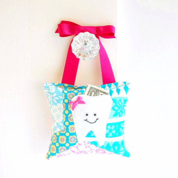 Girls Tooth Fairy Pillow Tooth Fairy Gift in Pink, Lime and Turquoise Patchwork Print